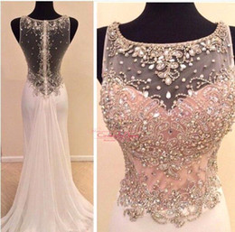 Wholesale 2015 Real Images Bling Sheer Sexy Long Prom Dresses Rhineshtone Scoop Fishing Evening Party Gowns Backless Chiffon Sweep Pageant Dress