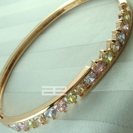 9K 9CT Rose Gold Filled with Multicolor Crystal Can Open Bangle G60