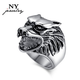 fashion stainless steel ring for men wolf hammer animal jewelry cool mens rings punk rock