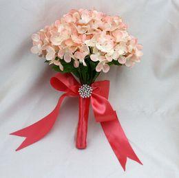 Wholesale Silk Carnation Wedding Bouquets - 2016 Hot Sale Wedding Bridal Bouquets with Handmade Flowers Peals Crystal Rhinestone Pearls Wedding Supplies Bride Holding Brooch Bouquet
