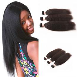 Brazilian Virgin Hair Kinky Straight 3 Bundles 100% Human Hair Brazillian yaki Straight Weaves Natural Virgin Straight Hair G-EASY