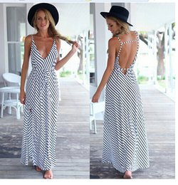 Dresses striped straps Slim V-neck halter Casual Dresses sexy Clothing summer spring women summer long dress wholesale free shipping 2016