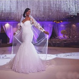 Gorgeous Lace Applique Mermaid White Or Ivory Wedding Dresses Sweetheart Floor Length Sexy Bridal Gowns Wedding Dress Exquisite