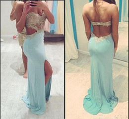 Vestidos 2016 Sexy Mint Green Long Prom Dresses Sweetheart Gold Lace Appliqued Backless Party Gowns Split Evening Dresses