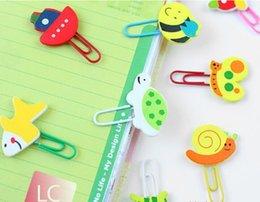 Wholesale Creative Paperclips Bookmarks Binder Clips Stapler Cartoon Wooden Coloured Drawing Animal Children Kids Gift School Office Supplies jk3203