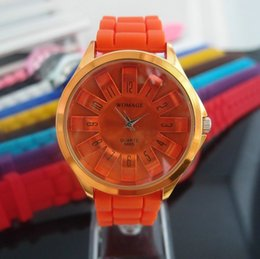 Wholesale-Sunflower Design Orange Silicone Band Watch Sports Watch,Women Wrist Watch~SF001-11