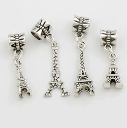 Wholesale 4Styles Antique Silver Eiffel Tower Big Hole Beads Fit European Charm Bracelets Jewelry DIY Hot sell
