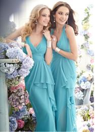 Cheap Long Bridesmaid Dresses 2016 V neck Ruffled Sheath Chiffon FLoor Length Wedding Party Dress High Quality Custom Made