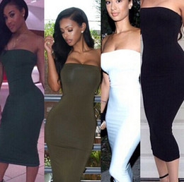 2015 New Fashion Sexy Dress Hot Sale Strapless Dress Women's Slim Hip Package Dress White Navy Blue Black Green