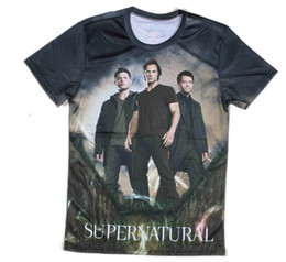 Wholesale-All over printed 3d mens t-shirt short sleeve o-neck supernatural t shirt