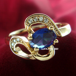 Size 8 18K Gold GP Ring Sapphire Engagement Jewelry (r234)