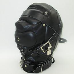 Wholesale Black Soft Leather Bondage Mask SM totally enclosed hood choking sex slave Head Hood Adult Sex Game bondage gear