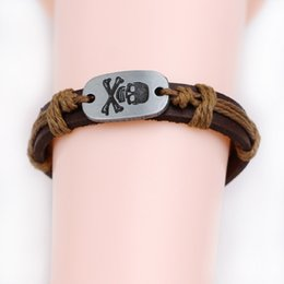 Wholesale 2016 Promotion Price Punk Rock Skull Bracelet Genuine Leather Handmade DIY Rope wristband Dark Coffe Black Brown Dark Red
