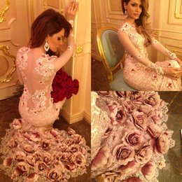 Gorgeous Prom Dresses with Handmade Flower 2018 Sheer Long Sleeve Mermaid Celebrity Gowns Sweep Train Pageant Wear Custom