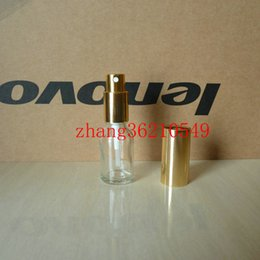 15ml clear transparent Glass perfume Bottle With aluminum shiny gold mist sprayer. perfume atomizer bottle container