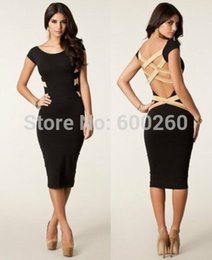 2014 New European Fashion Women Sexy Plus Size Knee Length Black Bodycon Dress Celebrity Casual Dress Backless Bandage Dress
