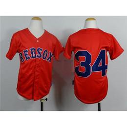 Uniformes económicas para los niños en Línea-Niños rojo de los jerseys del béisbol de los Red Sox Equipo Jugadores Béisbol Camisas barato # 34 Uniforme David Ortiz aire libre Marca transpirable Ropa de atletismo en Venta