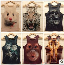 Free shipping women t shirt mens o-neck Fashion vest 3d cotton t shirt ,3D animal printed tank