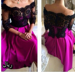 Sexy short party dresses black lace see through off shoulder half sleeve fuchsia short prom evening gowns arabic women dresses BO8329