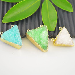 Wholesale Triangle kt Gold Plated Druzy Connector in Mixed color Charms Pendant Jewelry making