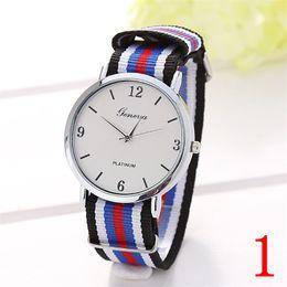 Wholesale Luxury women dress Watch Multicolor Stripe Nylon Fabric Canvas Sports men Watch Super Thin Platimum Case Geneva Wristwatch hours