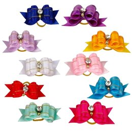 Wholesale 20pcs Mixed Colors Dog Hair Bows Pet Puppy Cat Bowknot Puppy Rubber Band For Small Papillon Maltese