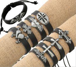 Mix Sale Infinity Bracelets Fashion Handmade Different Pattern Charms Leather Bracelets For Men Hot Sale Jewelry