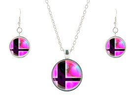 Wholesale Super Smash Bros Ball Pink and Black glass Pendant Necklace jewelry Sets glass necklaces pendant necklace earrings movie bijoux CS76
