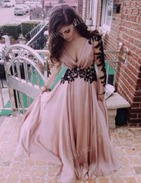 2015 Meat Pink V-neck Pleated Chiffon Long Sleeve Black Lace Applique Floor Length Formal Prom Dress Party Bridesmaid Dresses Cheap