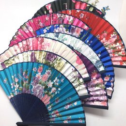 Wholesale Chinese Craft Silk Floral priting Hand made Folding Hand Fan pièces beaucoup Multi Wedding Wedding Dancing Party Livraison gratuite