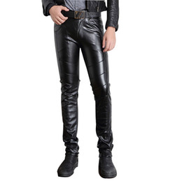 Wholesale-Mens Black Leather Pants Faux Leather Pu Material Black Color Motorcycle Skinny Faux Leather Pants For Men P015