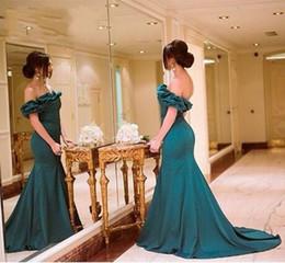 2016 Hunter Green Satin Mermaid Prom Dress Sexy Backless Off-Shoulder Vestidos De festa Elegant Formal Evening Gown