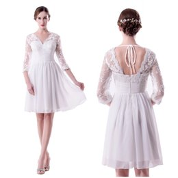 White Custom Made V Neck Homecoming Dresses Prom Dress 2018 A Line Lace Knee Length With Half Sleeves Real Photo Dresses Party Evening