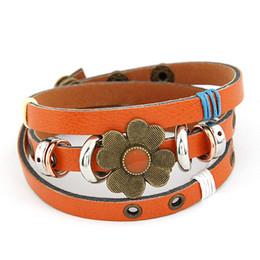Wholesale-Fashion New Brand designer Cute leather Bracelet Flower Clover Charm Bracelets Bangles for Gift Women Men Jewelry bijouterie