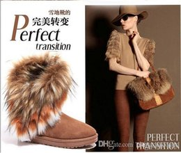 Wholesale New Fashion Winter Brown Warm Ladys Snow Boots High Quality Long Snow Boots Artificial Fox Rabbit Fur Leather Tassel Women s Shoes