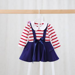 Wholesale Idea Spring New Baby Girl Dresses Kids Ribbons Stripe Long Sleeve Princess Dresses y