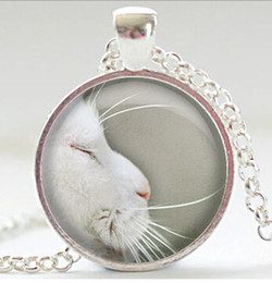 Wholesale Long beard silver cat glass necklace charm Art picture round pendant necklaces Spring Choker jewelry gift CN401