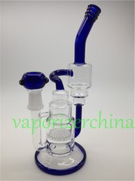Wholesale Handman Blown Heady Water Bongs Glass Pipes Honey Comb Percolator with two layer recycle bong Fit for mm Female Joint colored end handle