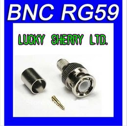 Wholesale Freeshipping BNC male crimp plug for RG59 coaxial cable RG59 BNC Connector BNC male piece crimp connector plugs RG59