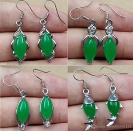Tibet Silver Green Jade Malay jade pendant Dangle Girl Boy Chandelier 925 Silver Earings Bridal Jewelry for wedding dress
