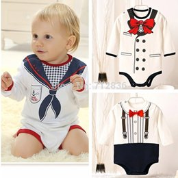 Wholesale Months baby newborn boy s bodysuits cotton printing tie jumpsuits coveralls for News freeshipping