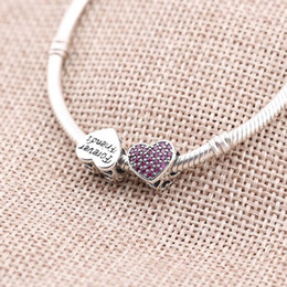 Wholesale 925 Silver Beads Fit Pandora Charms Sale Heart Beads CZ Stones for Pandora Charms Silver Original Jewelry Hand MakingPX0063
