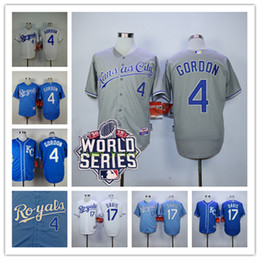 Wholesale Kansas City Royals Wade Davis Jersey Alex Gordon World Series Patch White Blue Baby Blue grey Mens Baseball Jerseys