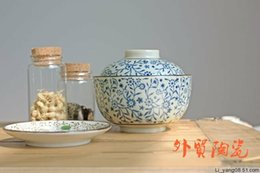 Wholesale freeshipping Ceramic tureen rice bowl with lid egg bowl teacup egg cup slow cooker vintage