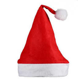 Wholesale Cheap Xmas Trees - DHL Cheap Christmas hat Santa Cap Christmas gifts Christmas tree decorations Christmas hat adult children Xmas red and white Santa Claus cap