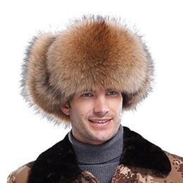 Compra Online Hombre trapper-2017 Piel de zorro de los hombres del sombrero del bombardero de la aleta del oído del invierno de Ursfur de los hombres auténticos de Ursfur con los sombreros de cuero Earflap de los sombreros del trampero 5 colorea Dropship