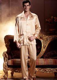 Emulation Silk Men Gold Color Embroidery Nightgowns Full Sleeve Turn Down Collar Pajama Sets Soft Close Skin Sleepwear 2204