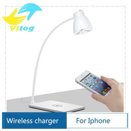 Wholesale LED Desk Table Lamp Qi Standard Wireless Charger Lamp Charging Light Degree Rotating for Galaxy Note S6 S6 Edge Lumia