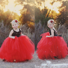 Red Flower Girls Dresses Cheap 2015 Square Neckline Hand Made Flowers Tulle Ball Gown Black Top Red Skirt Bow Long Girls Pageant Dress