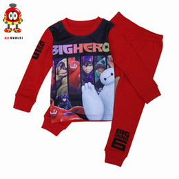 Wholesale 2015 Spring Big hero children s cotton long sleeved tracksuit digital printing children s Pajamas suit C001